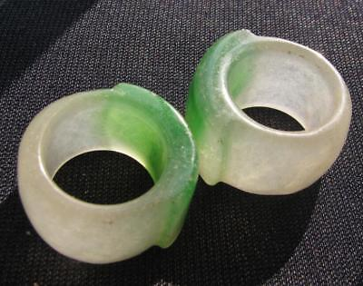 old natural green clear jade hand carved man ring sz11   1pcs