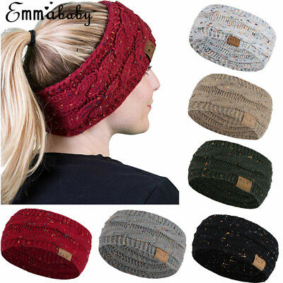 UK Women's Winter Knitted Ear Warmer Headband Ladies Crochet Wool Hat Hairband