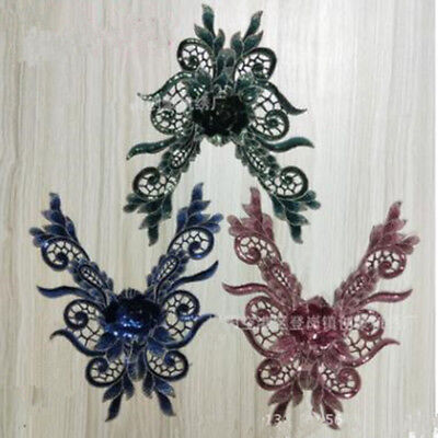 3D Flower Embroidery Lace Women Applique Beaded Tulle DIY  Dress