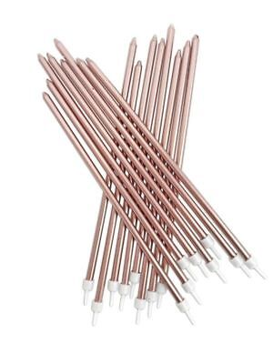 16 Extra Tall Metallic Rose Gold Candles & Holders 18cm Birthday Cake Topper