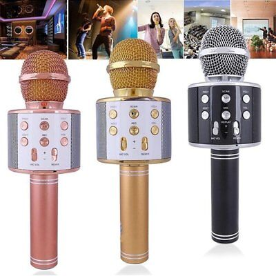 Wireless Bluetooth Karaoke Microphone Speaker Handheld With Mic USB Player KTV