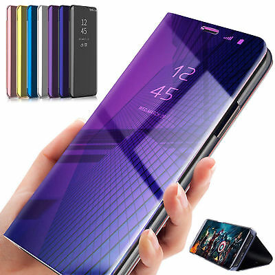 Flip Smart Case For Samsung GalaxY A7 2018 J4 Plus Clear View Mirror Stand Cover