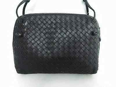 Auth BOTTEGA VENETA Intrecciato B02283305X DarkBrown Leather Shoulder Bag 5668810873