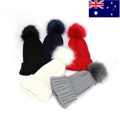 Womens  Winter Crochet Ski Caps Wool Pom Fur Ball Bobble Knitted Beanie Hats AU