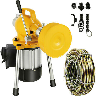 400W Drain Cleaner Electric Eel Rigid Plumbing Sewerage Pipe Machine w/ Cutters