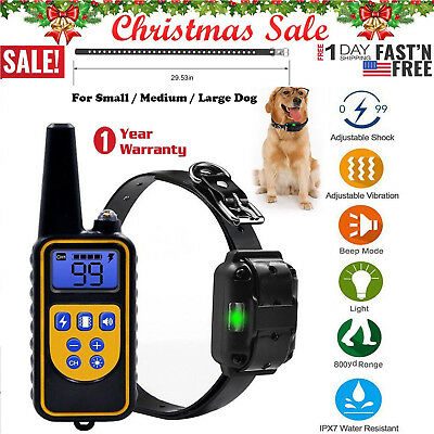 2600 FT Remote Dog Training Shock Collar LED Electric Hunting Trainer Waterproof