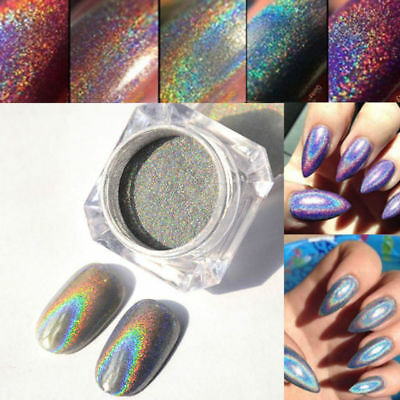 Holo Nails Effects Holographic Rainbow Chrome Mirror Laser Powder+BRUSH