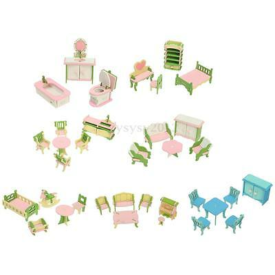 Retro Miniature Wooden Furniture Dolls House Family 4 Room Set For Kids Toy Gift