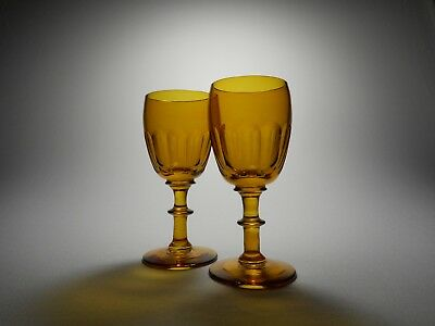 19th C. Blown Amber Glass Cut Flutes Button Stem Wine Glasses - A Pair