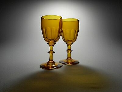 19th C. Blown Amber Glass Cut Flutes Button Stem Wine Glasses - A Pair #2