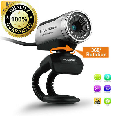 AUSDOM USB Webcam 1080P, 12.0M HD Camera with Built-in Microphone Clip-On...