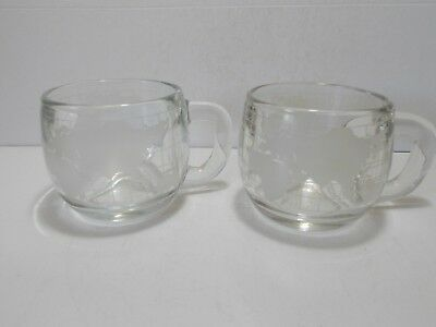Two Nestle Glass World Coffee Cups