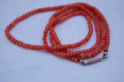 Art Deco Red natural coral necklace Korallenkette Rote Koralle