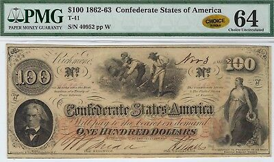 T-41 PF-22 $100 Confederate Paper Money 1862 - PMG Choice Unc 64 - CHOICE!!