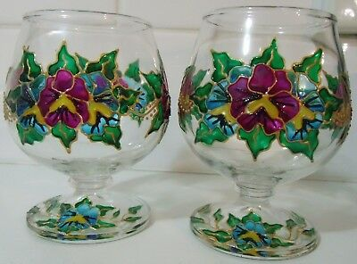 2 x Artist Designed Handpainted Wine Glasses - Pansies