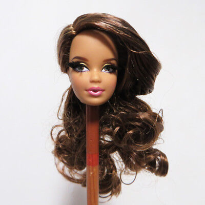 Doll Head for Barbie Look Wavy Long Hair Eyelash DIY Collection Doll Soft Head