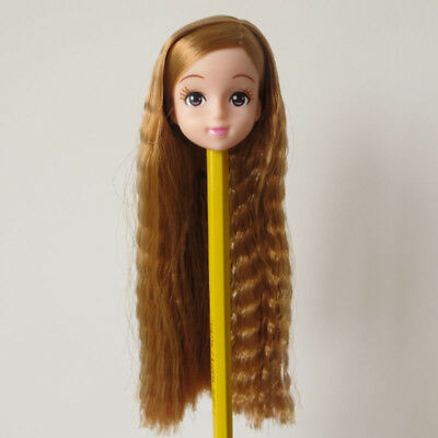 Doll Head for Licca Long Wavy Hair White Skin Japan Doll Head Accessory DIY Head