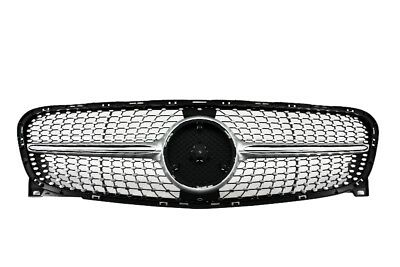 Grille for Mercedes Benz GLA-Class X156 14-16 Diamond AMG Look Silver Air Intake