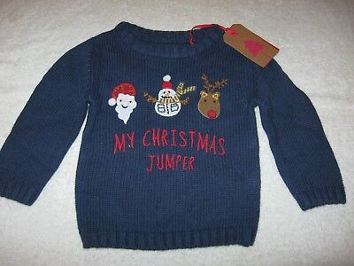 CHRISTMAS JUMPER New Next 6-9 9-12 months Navy Blue Xmas Baby BNWT Boys My