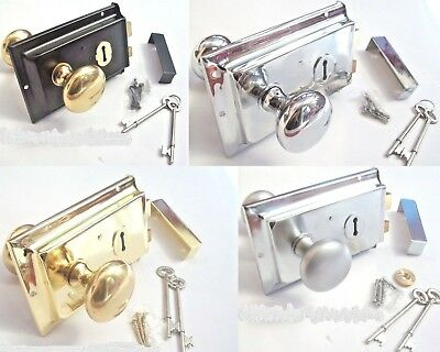 OLD RETRO 1920s VICTORIAN RIM DOOR LOCK + RIM DOOR KNOB HANDLE SET