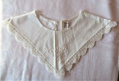 Vintage Embroidery & Crochet Edge Cotton Collar by Annie Ivory Off White