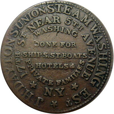 1837 New York City Hard Times Token Dayton's Union Steam Washing HT-249 Low 114