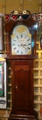 Antique grandfather clock, eight day movement, oak / mahogany case, strikes hour