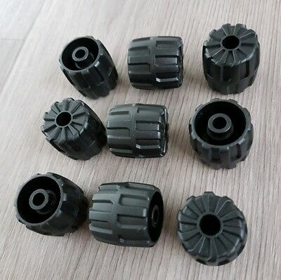 Set of  4  Hard Plastic Small  SPACE Wheels BLACK LEGO LEGOS 22mm D. x 24mm
