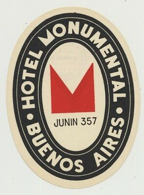 Hotel Monumental - Buenos Aires / Argentina (Vintage Luggage Label)