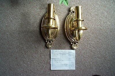 Solid Brass Electric Wall Sconces Pair New!