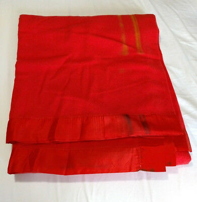 "FLAWS Vintage Fieldcrest Queen 100% Wool Red Blanket Satin Trim 103"" x 89"""