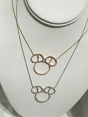 New Disney Parks Crislu Minnie Mouse Bow Rose Gold Sterling Silver Necklace!