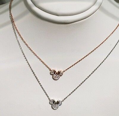 New Disney Parks Crislu Minnie Mouse Bow Pave Rose Gold Sterling Silver Necklace