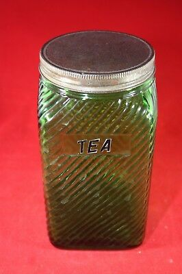 (A10) Vintage Owens Illinois Canister: 1930's Emerald Forest Green w/Lid (#4)
