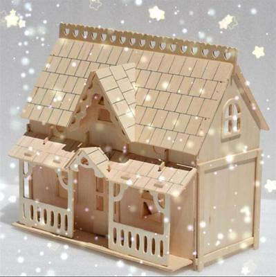 DIY Wooden Kids Dolls House Room Miniature Kit Play Toy Dream House Gifts
