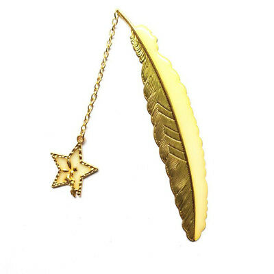 Gold Color Star Pendant Feather Luminous Bookmark Book Mark Jewelry Gift G