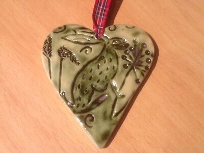 Easter, Mothers Day Ceramic Handmade Hanging Hare Heart. Free postage.