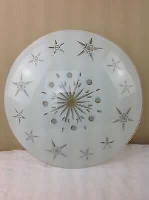 VTG MCM Atomic Frosted Starburst Glass Ceiling Light Cover