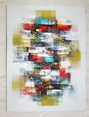 Original abstract painting in oil by renowned artist Wayan 80 x 60cm white