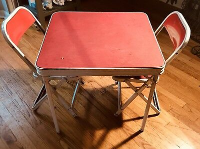 Vintage 1950s Hampton Red White Childs Metal Folding Card Table Two Chair Set