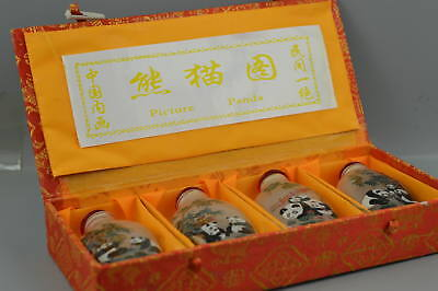 Collect Old Glass Inside Paint Lovely Panda Rare A Set Snuff Bottle & Gift Box