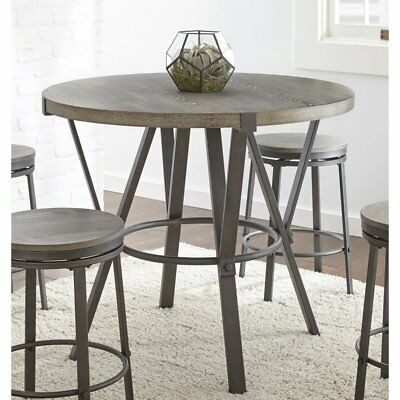 Steve Silver Co. Portland Round Counter Table, Gray-Brown, Small