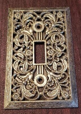 Vintage Intricate Brass Metal Filigree Light Switch Cover Plate Floral 4.5x2.75