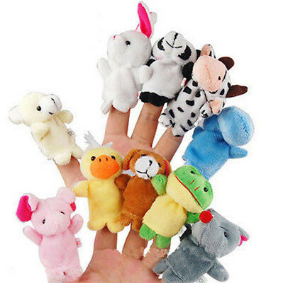 10/12X Family Finger Puppets Plush Cloth Doll Baby Kids Hand Toys Nursery Fairy