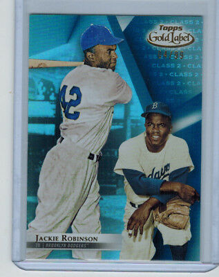 2018 18 Jackie Robinson Topps Gold Label Class 2 Blue Parallel #ed 4/99 Dodgers