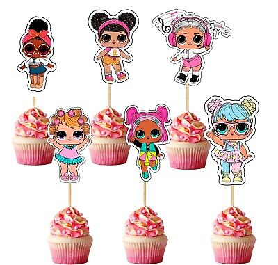 Set of 12 LOL SURPRISE TOPPERS CUPCAKE PICKS Toppers Party DIE CUTS - REF 6