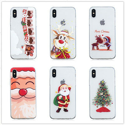 Christmas Tree Reindeer Santa Painted Soft Phone Case For 6 6s 7 8 Plus X XR MAX