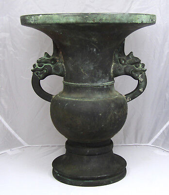 Rare Japanese Bronze Altar Vase, Year 1715 Or Earlier