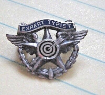 Vintage 1931 Sterling Silver EXPERT TYPIST Pinback Pin