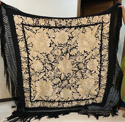 """Antiques Chinese Piano Shawl Hand Embroidered 62"""" By 62"""" Fringes 14"""""""